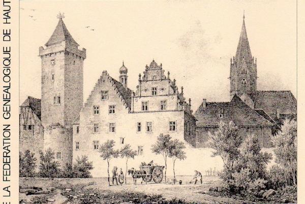 Vue de Rouffach au début du XIXe siècle