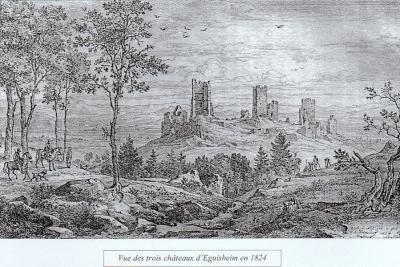 Vue des trois châteaux d'Eguisheim en 1824